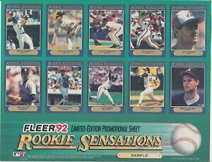 1992 Fleer Rookie Sensation Limited Edition PROMO SHEET - Frank Thomas +