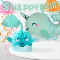 """Narwhal Party 3-D Honeycomb Centerpiece 12.8/"""" x 12/"""" Narwhal Party Decorations"""