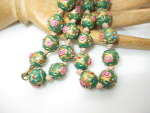 502 - MURANO GLASS WEDDING CAKE BEAD NECKLACE HP GOLD PINK TURQUOISE ENAMELS