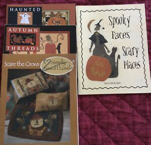 Lot Of 4: Autumn, Haunted Threads by Need'l Love, Scare the Crows & Spooky Faces
