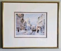 "Inge Claussen Signed/Framed ""Bonsecours Market"" Litho Canadian Art Card Series"