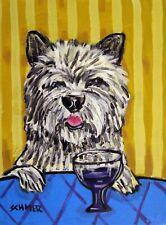 Cairn terrier dog Wine art poster gift modern folk pop art 4x6 Glossy Print