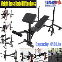 Weight Bench Set With Weight Home Gym Bench Press Lifting Barbell Rack Exercise