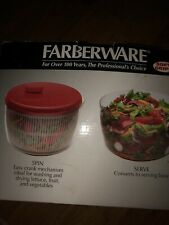 New listing FaberWare New In Box Soft Grips Red Top And Clear Deluxe Salad Spinner