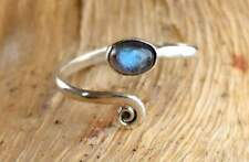 Solid 925 Sterling Silver Toe Ring Labradorite Stone Adjustable Toe ring Toering