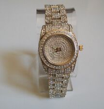 Men's hip hop CZ Bling clubbing gold finish fashion party wear bracelet watch