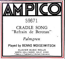 AMPICO ReCut Palmgren CRADLE SONG Refrain de Berceau 59671 Player Piano Roll