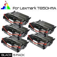 5 PK Black Toner For Lexmark T650 T652 T654 T656 T650N T656DNE T650H21A T650H11A