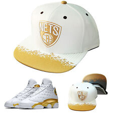 Mitchell & Ness NBA Brooklyn Nets Snapback Hat Air Jordan Retro 13 DMP Gold Cap