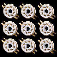 9PCS 8PIN TUBE SOCKET For KT88 EL34 5881 5AR4 6SL7 6V6 6L6 AUDIO DIY Gold Plated