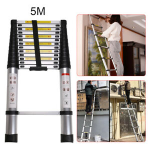 5M Portable Extendable Heavy Duty Multi-Purpose Aluminium Telescopic Ladder