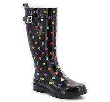 WESTERN CHIEF Ladies DITSEY DOTS-MULTI/BLACK Rubber Rain Boot Sz. 7 M  NEW w/Tag