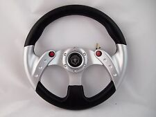 SILVER Steering Wheel with Adapter Ez-go POLARIS Ranger Club car Harley Kubota