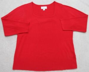 Avenue Red Sweater Womens Womans Long Sleeve U-Neck XL Extra Large 18/20 Acrylic