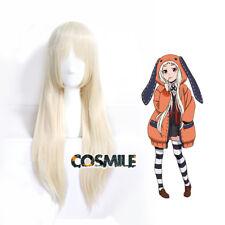 Runa Yomozuki Kakegurui Loli Cosplay Hair Wig Cap Pale Gold Anime