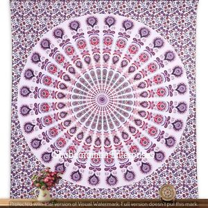 Indian Home Decor Bedding Cotton Bedspread Hippie Peacock Mandala Tapestries