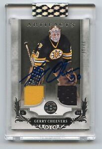 2019-20 Upper Deck Buybacks Gerry Cheevers 2018-19 Artifacts Dual Jersey Auto