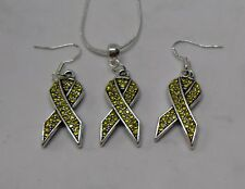 Olive Green Brain Injury Awareness Sterling Silver Necklace Set