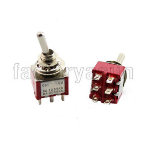 5PCS Red Mini Toggle Switch DPDT 2 Position ON-ON 6-PIN 12V 6A Silver Contacts