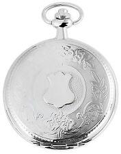 Taschenuhr Weiß Silber Wappen Quarz Herrenuhr D-60356116930299
