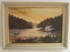 Oil on Canvas Isolated Lone House on Estuary Signed Koels  North American Canada