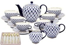 Lomonosov Design 23-pc Russian Cobalt Blue Net Tea Cup Set, Saint Petersburg 24K