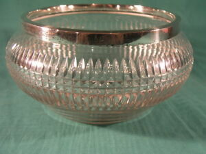 Cut Glass Fruit or Rose Bowl With Hallmarked Silver Rim Birmingham 1938