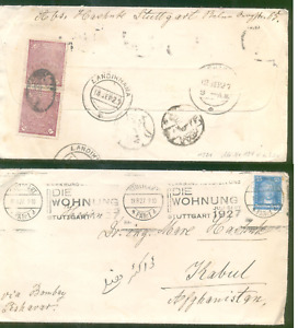 Pre UPU Cover from Germany to Afghanistan  1927, postage due stamp