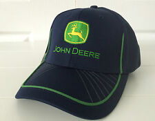 John Deere Navy Blue Performance Mesh Hat / Cap w/ Flex Fit & Green Accents Logo