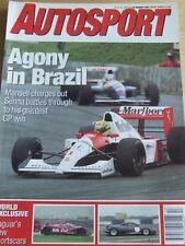 AUTOSPORT MAGAZINE MAR 1991 AGONY IN BRAZIL JAGUARS NEW SPORTSCARS