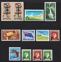 New Zealand 12 Stamps c1960-66 Mounted Mint and Used (6485)