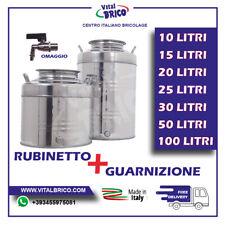 CONTENITORE FUSTO BIDONE PER OLIO ACCIAIO INOX 18/10 CON RUBINETTO MADE IN ITALY
