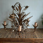 Vintage Italian 5 Arm Gilt Wheatsheaf & Floral Toleware Ceiling Light Chandelier
