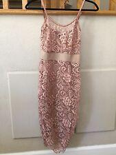 Elisabetta Franchi Laser Floral Cutout Crochet Dress 40 ITALY XS Blush Pink