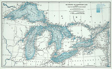 Great Lakes including Canals and Tributary Navigable Streams Map Print Poster