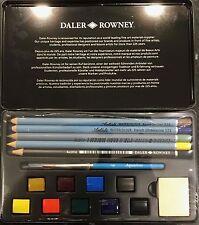 Daler Rowney Acuarela Set, 9 sartenes medio, Cepillo, Masilla Goma, Lápiz & Lápices de Colores