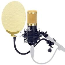 Super Profi Mikrofon für Gesangs-und Instrumentenabnahme mit Popkiller gold
