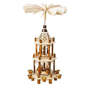 German Christmas Carousel Pyramid 21in windmill Nativity Scene - Decoration