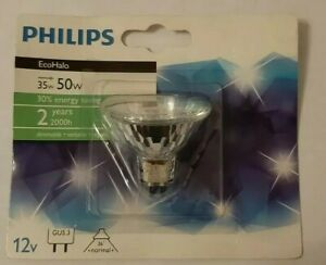 5 Philips MR 16  GU5.3 35w equivalent to 50w Halogen Light Bulbs Free Delivery