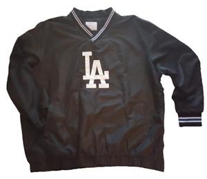 Men's Los Angeles Dodgers Black V-Neck Trainer Pullover Jacket G-III Sports