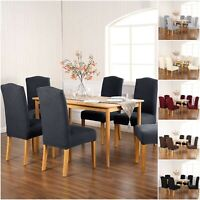 2/4/6 PCS Dining Chair Covers Removable Slipcover Elastic Band For Home Hotel