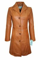 Ibiza Ladies Fashion Fitted Tan KNEE LENGTH Designer Real Leather Jacket Coat