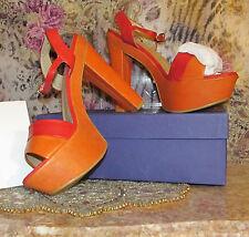 Stuart Weitzman Orange Leather 70s retro style Platforms Sandals Womens 11M NEW