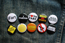 "10 x 1"" FART BUTTONS pins badges I heart to fart ifart humor funny who farted?"