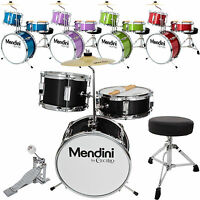 "Mendini 13"" 3-Pieces Junior Kids Child Drum Set Kit ~Black Blue Green Purple Red"