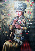 "Art Oil painting beautiful Chinese Hmong girl playing flute on canvas 24""x36"""