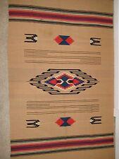 Vtg WOOL CHIMAYO Serape Saltillo NEW MEXICO Native Camp BLANKET Rug Tablecloth