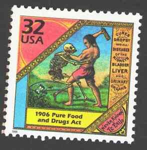 US. 3182f. 32c. Pure Food & Drug Act, 1906. Celebrate The Century. MNH. 1998