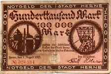 1923 Germany HERNE  100.000 Mark Banknote