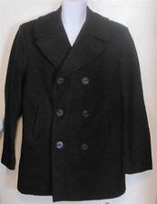 DSCP mens sz 40L 40 Long Pea Coat Quarterback Collection Wool Black Nice j101